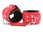 Красные кожаные наручники с меховым подкладом #35118