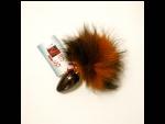 Анальная пробка с оранжево-черным заячьим хвостом - 8 см. #35121