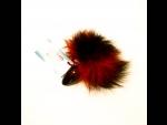 Анальная пробка с красно-черным заячьим хвостом - 8 см. #36345