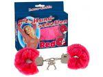 Малиновые меховые наручники Love Cuffs Red #37350