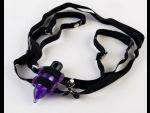 Фиолетовый вибростимулятор в форме мышки на регулируемых ремешках  #41737