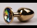 Золотистая металлическая анальная пробка с радужным стразом - 7,6 см. #51002