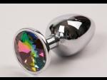 Серебряная металлическая анальная пробка с радужным стразиком - 7,6 см.