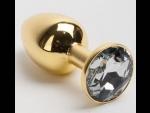 Золотистая анальная пробка с белым кристаллом - 7,6 см. #52223