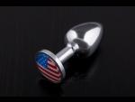 Маленькая анальная пробка с флагом США - 7,5 см. #52598