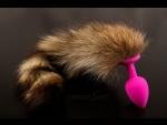 Розовая силиконовая анальная пробка с хвостом енота - 6 см. #52608