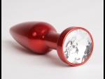 Большая красная анальная пробка с прозрачным стразом - 11,2 см.