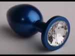 Синяя анальная пробка с прозрачным кристаллом - 6,9 см.