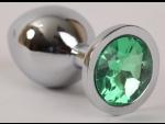 Серебристая анальная пробка с зеленым стразом - 9,5 см. #54549