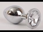 Серебристая анальная пробка с прозрачным стразом - 8,2 см. #54551