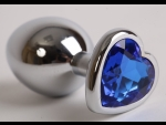 Серебристая анальная пробка с синим стразиком-сердечком - 8 см.