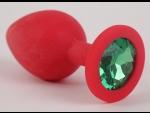 Красная силиконовая пробка с зеленым кристаллом - 9,5 см.
