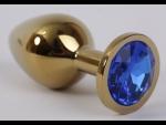 Золотистая анальная пробка с синим кристаллом - 8,2 см. #54576