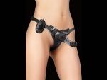 Чёрный страпон с вибрацией Vibrating Butterfly Strap-On - 15,5 см.