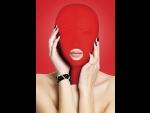 Красная маска на голову с прорезью для рта Submission Mask #61197