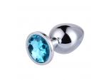 Большая серебристая анальная пробка с голубым кристаллом - 9,5 см. #80524