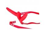 Красный страпон с вагинальной пробкой SEX COMPANION DUAL CLIMAX - 17 см. #82798