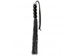 Чёрная мини-плеть из силикона с акриловой рукоятью SILICONE FLOGGER WHIP - 35 см. #83116