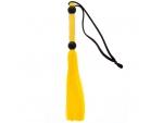 Желтая мини-плеть из силикона и акрила SILICONE FLOGGER WHIP - 25,6 см.