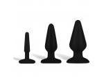 Набор из 3 черных анальных плагов из силикона #84919