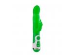Зеленый вибратор с клиторальным стимулятором INSTYLE DUO VIBRATOR 5.5INCH - 14 см. #85024