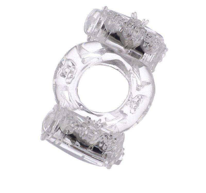 Прозрачное виброкольцо с двумя вибропульками