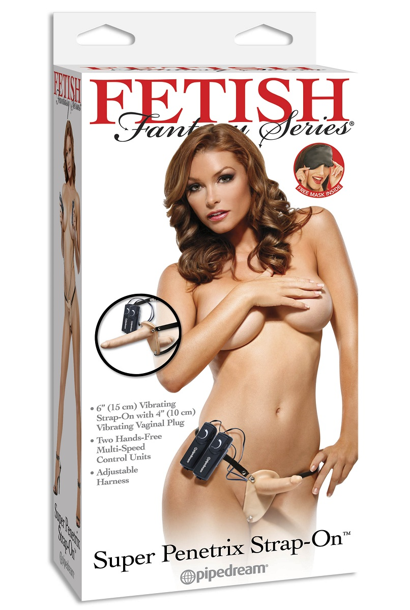 Женский страпон с вагинальной вибропробкой Super Penetrix Strap-on - 15 см. - фото 128547