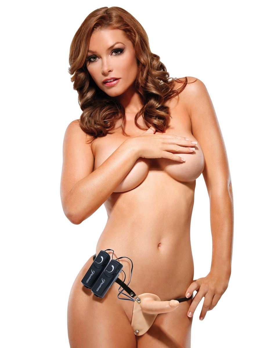 Женский страпон с вагинальной вибропробкой Super Penetrix Strap-on - 15 см. - фото 128548