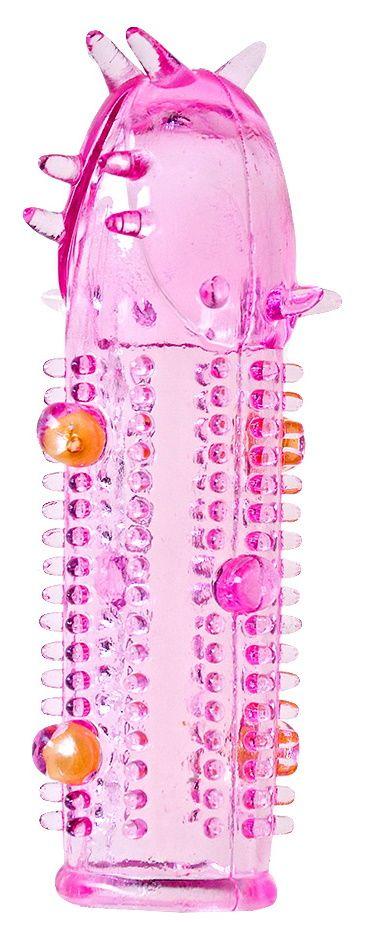 Розовая насадка на пенис с закрытой головкой
