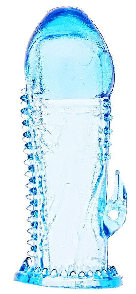 Голубая насадка с усиками и отростком для стимуляции клитора