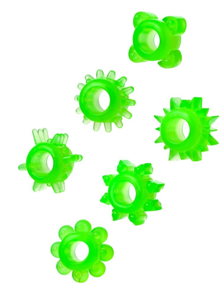 Набор из 6 зелёненьких эрекционных колец