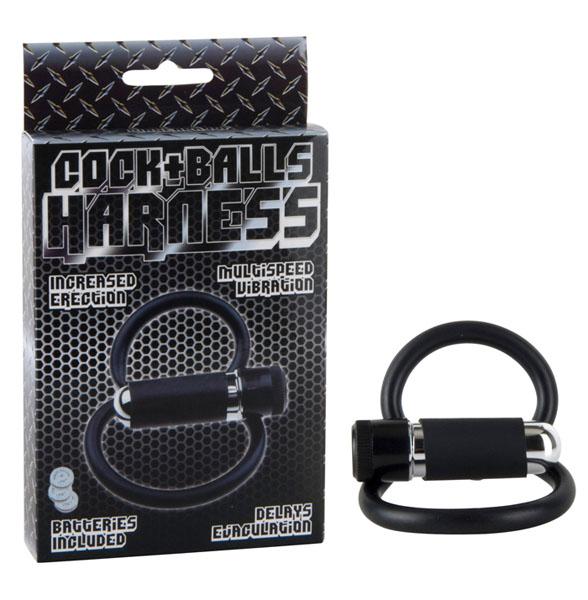 Черное двойное эрекционное кольцо COCK+BALLS HARNESS W. MULTISPEED BULLET