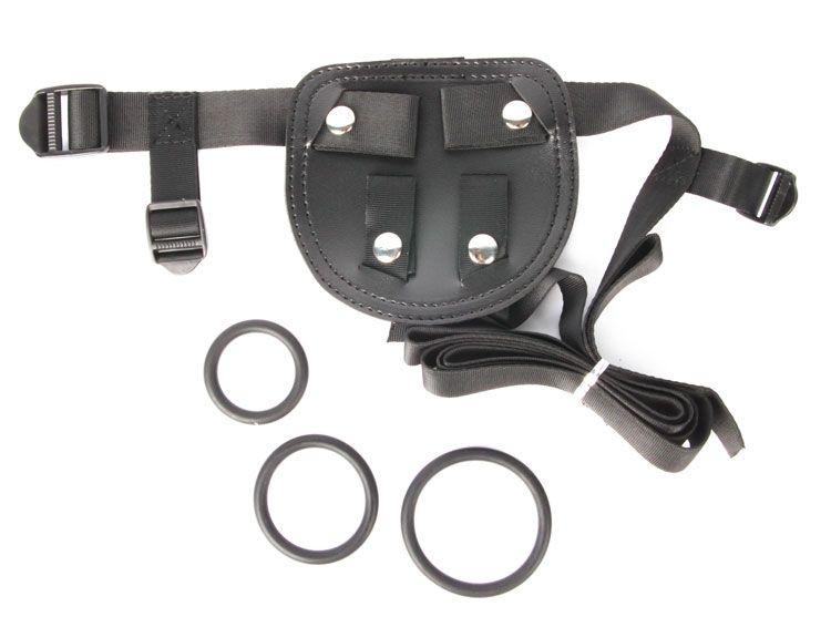 Черные трусики для страпона с тремя кольцами