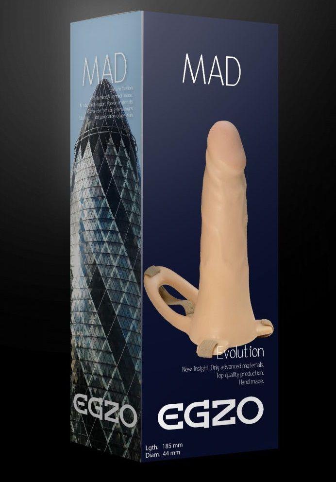 Телесный полый мужской страпон MAD - 18,5 см.