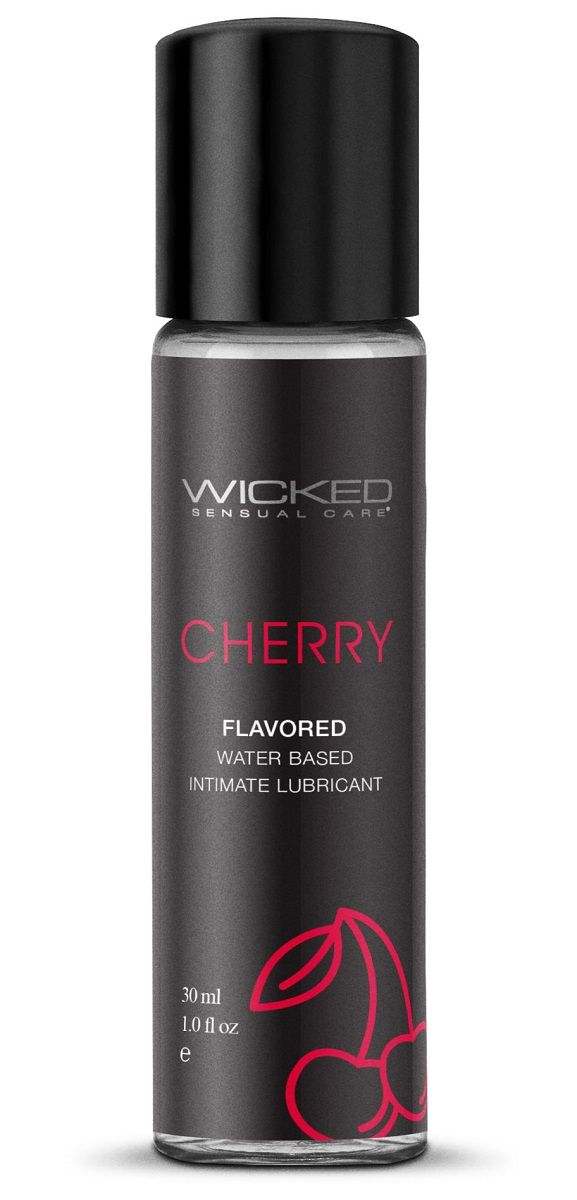 Лубрикант с ароматом сладкой вишни WICKED AQUA Cherry - 30 мл.