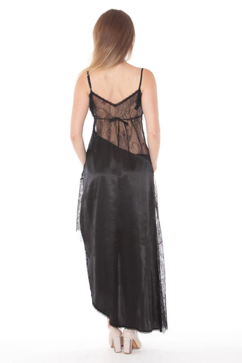 Длинная полупрозрачная кружевная сорочка со вставками - фото 182404