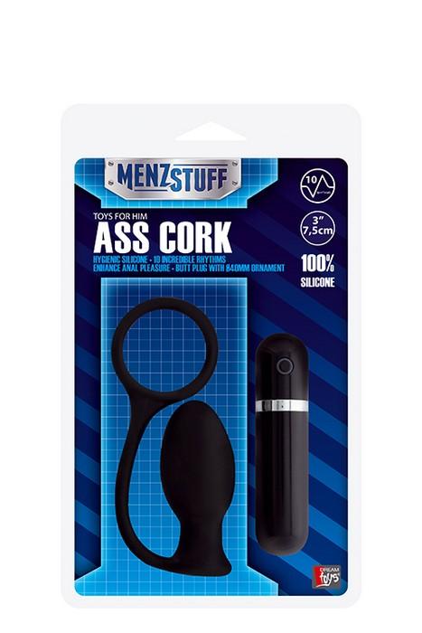 Чёрная вибровтулка MENZSTUFF ASS CORK SMALL - 7,5 см.