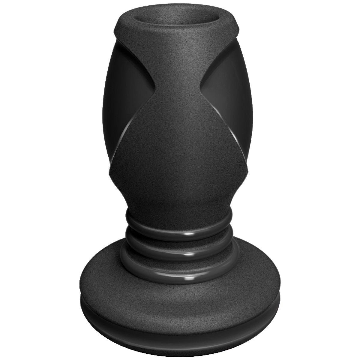 Чёрная анальная пробка с отверстием The Stretch Medium - 10,7 см.