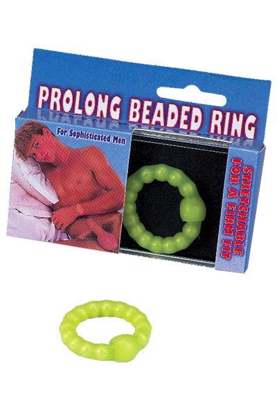 Салатное эрекционное кольцо с бусинами