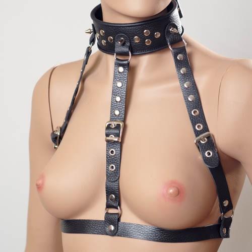 Чёрный кожаный ошейник-сбруя - фото 137430