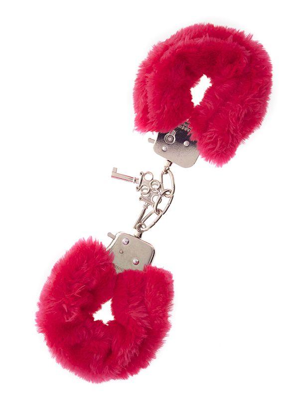 Металлические наручники с красной меховой опушкой METAL HANDCUFF WITH PLUSH RED - фото 138056