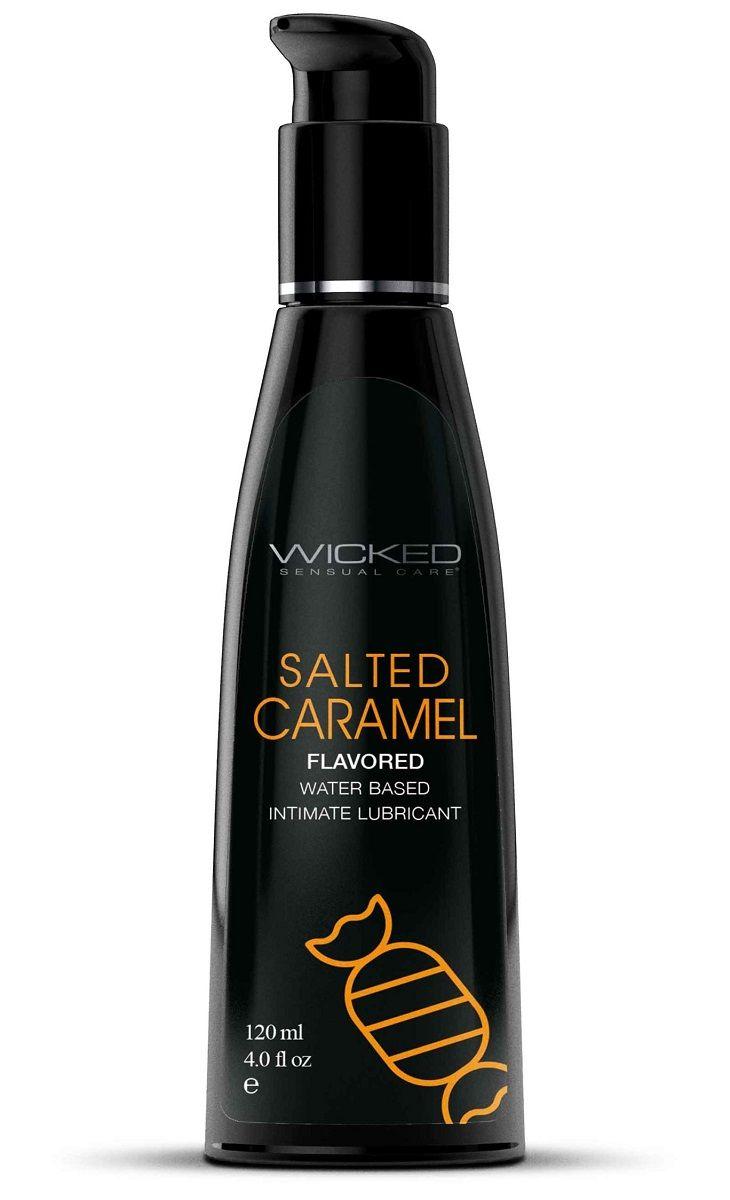 Лубрикант со вкусом соленой карамели Wicked Aqua Salted Caramel - 120 мл.
