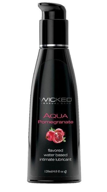 Лубрикант со вкусом граната Wicked Aqua Pomegranate - 120 мл.