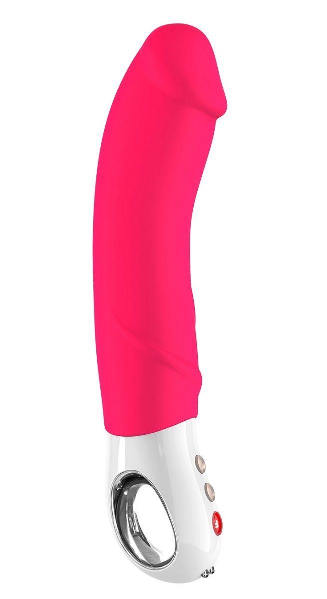 Ярко-розовый перезаряжаемый вибратор Big Boss G5 - 22,8 см.