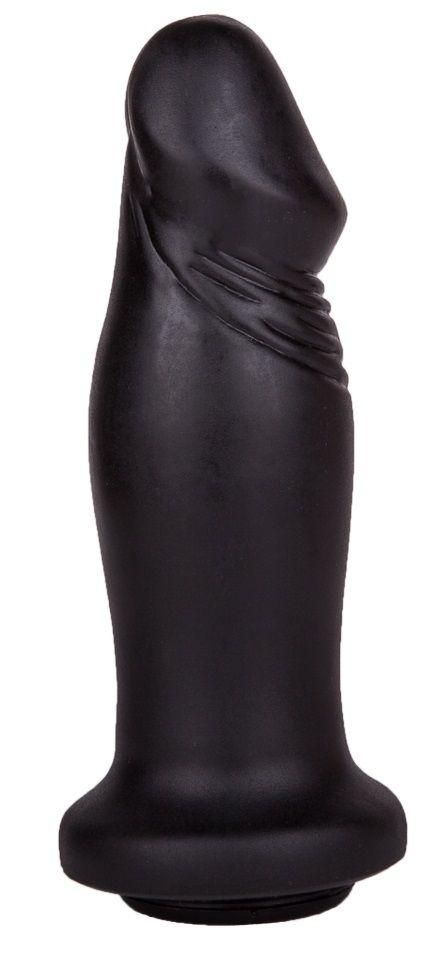 Чёрный анальный фаллоимитатор с ограничительным основанием - 14 см.