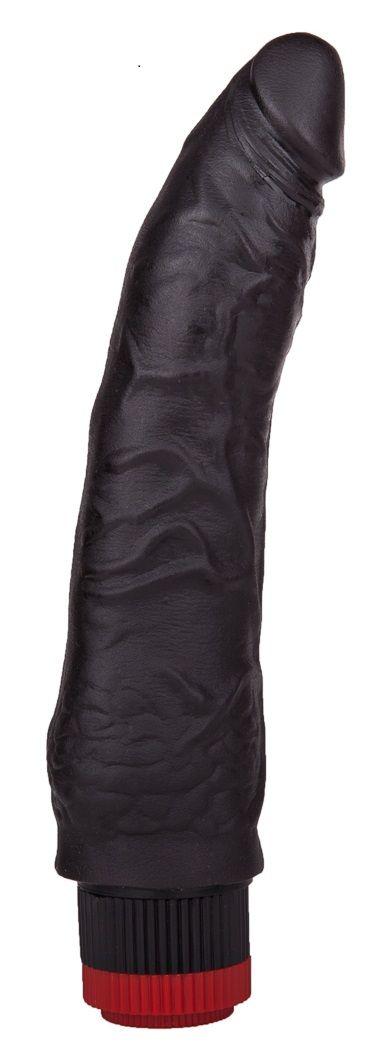 Чёрный вибратор-реалистик без мошонки - 17,5 см.