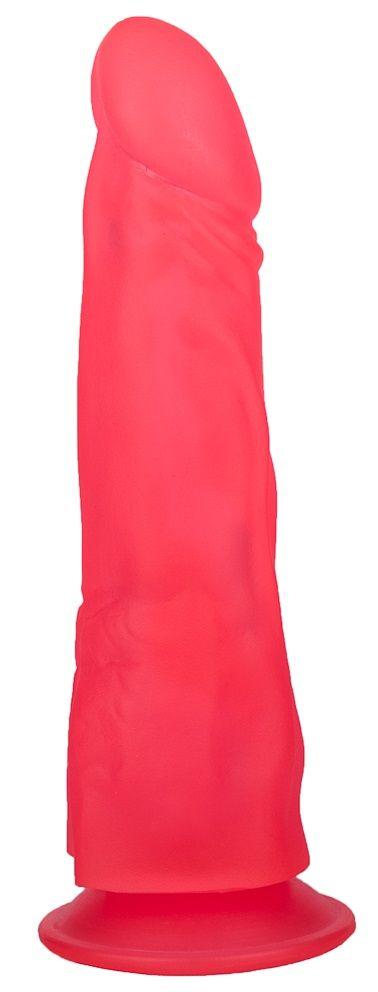 Розовый фаллоимитатор на присоске - 19,5 см.