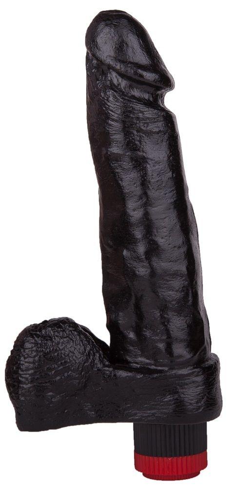 Чёрный вибромассажёр с мошонкой - 19 см.