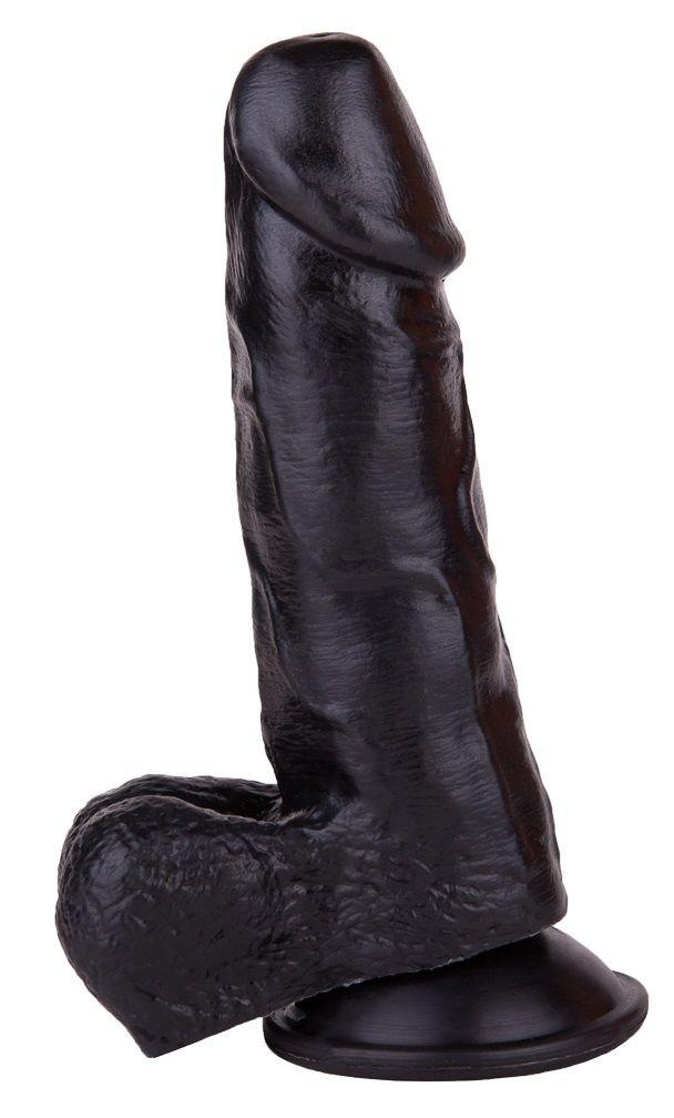 Упругий чёрный фаллоимитатор на присоске - 15,5 см.