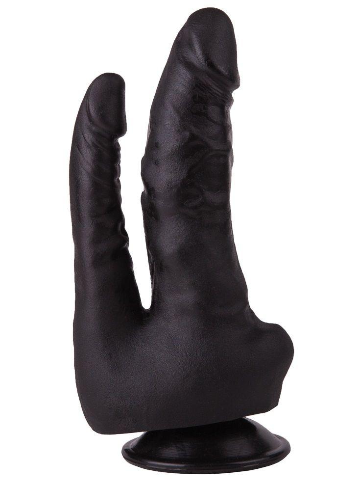 Двойной фаллоимитатор чёрного цвета на присоске — 17 см.